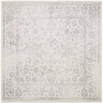 Adirondack Ivory/Silver 6 ft. x 6 ft. Square Area Rug