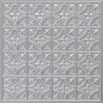 Scarlette Silver 2 ft. x 2 ft. PVC Glue Up or Lay In Ceiling Tile (4 sq. ft./each)