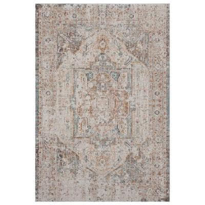 Antiquity Cream / Blush 5 ft. 3 in. x 7 ft. 10 in. Distressed Turkish Bordered Indoor/Outdoor Area Rug