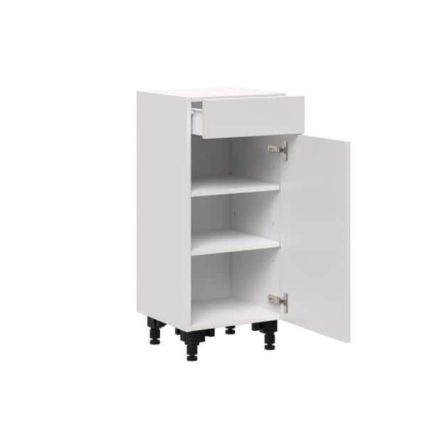 J Collection Shaker Assembled 15x34 5x14 In Shallow Base Cabinet With Metal Drawer Box In Vanilla White B1514 L R Ws The Home Depot