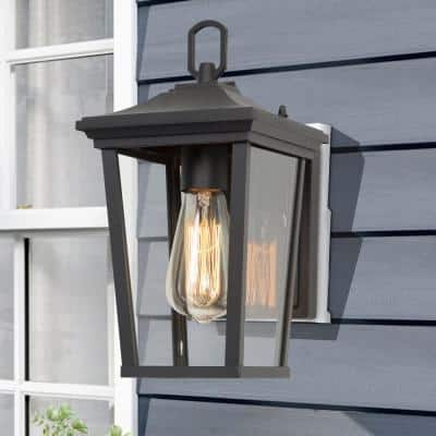 Austin Modern 1-Light Black Outdoor Wall Lantern Sconce Exterior Lighting with Clear Glass Shade