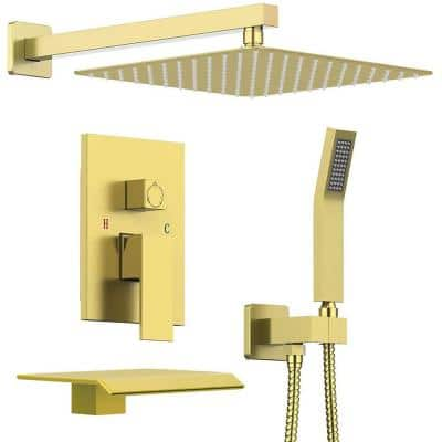 2-Handle 1-Spray High Pressure Wall Mount Tub and Shower Faucet in Brushed Gold (Valve Included)