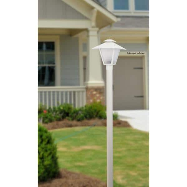 Solus 7 Ft White Outdoor Direct Burial, White Lamp Post With House Number