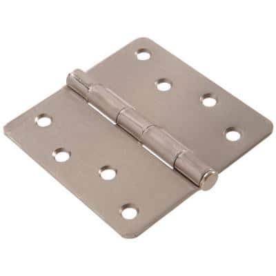 4 in. Satin Nickel Residential Door Hinge with 1/4 in. Round Corner Removable Pin Full Mortise (18-Pack)