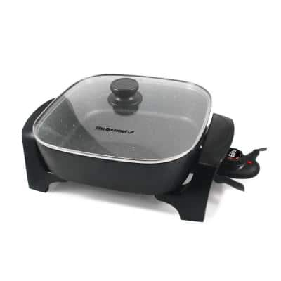 Gourmet Extra-Deep Black Electric Skillet with Glass Lid