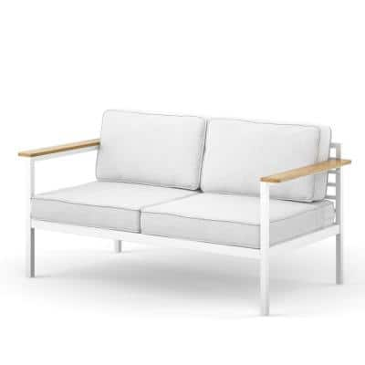 Pablo White Aluminum and Acacia Wood Outdoor Loveseat withCool GreyCushions and Waterproof Cover