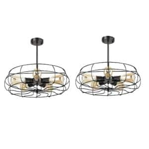 19 in. 5-Light Black Semi-Flush Mount (Set of 2)
