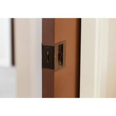 Oil Rubbed Bronze Pocket Door Bed and Bath Lock (2-Pack)