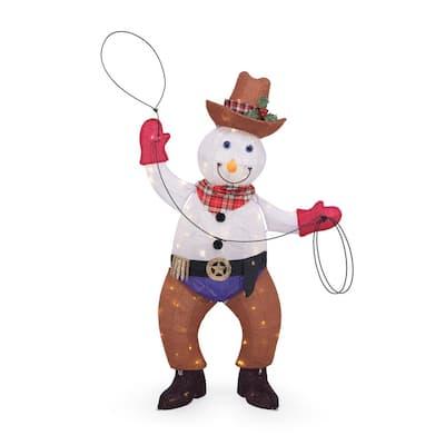 4 ft LED Cowboy Snowman