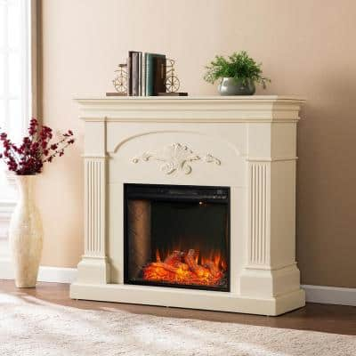 Ragonne Alexa Enabled 44.75 in. Electric Smart Fireplace in Ivory
