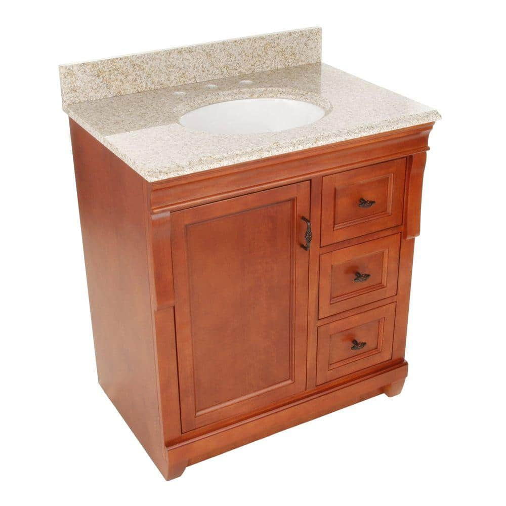 Home Decorators Collection Naples 31 In W X 22 In D Bath Vanity With Right Drawers In Warm Cinnamon With Granite Vanity Top In Beige Nacabgr3122 The Home Depot