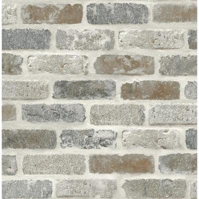 Washed Faux Brick Grey And Rust Vinyl Peel & Stick Wallpaper Roll (Covers 30.75 Sq. Ft.)