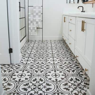 Arte White Encaustic 9-3/4 in. x 9-3/4 in. Porcelain Floor and Wall Tile (11.11 sq. ft. / case)