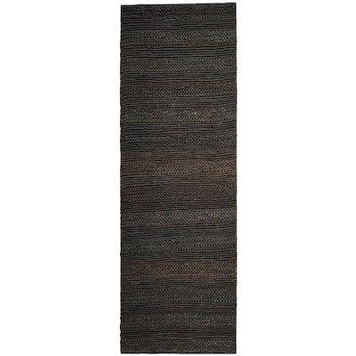 Natural Fiber Charcoal 2 ft. x 8 ft. Solid Runner Rug