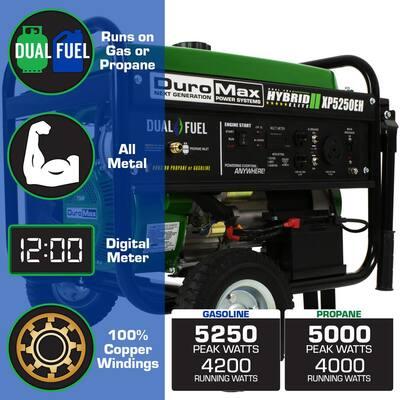 5250-Watt 224 cc Electric Start Dual Fuel Hybrid Portable Generator