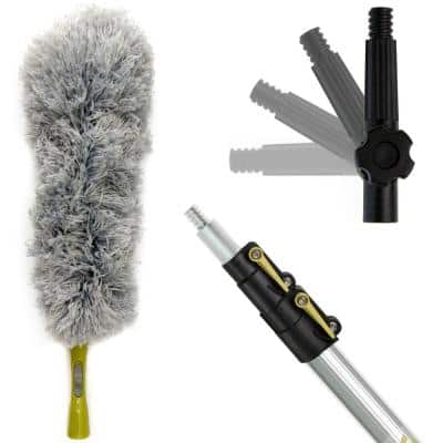 5 ft. to 12 ft. Extension Pole Plus Microfiber Feather Duster High Reach Telescopic Dusting Kit for High Ceilings