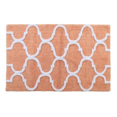 Cotton Coral/White 34 in. x 21 in. Latex Spray Non-Skid Backing Color Geometric Pattern Machine Washable Bath Rug