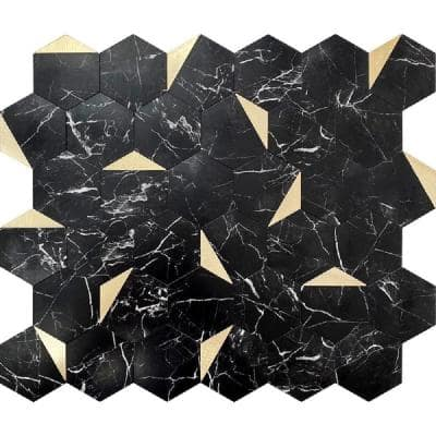 Hexagon Black and Gold 11.8 in.x10.2 in. Metal Peel and Stick Backsplash Tile for Kitchen and Bathroom (8.3 sq ft./Case)