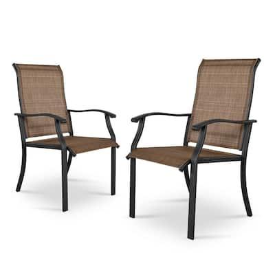 2-Pieces Outdoor Indoor Black Steel Frame Brown Textilene Dining Chairs