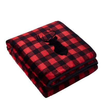 Bufflo Red Deer Applique Velvet to Sherpa Reverse 48 in. x 72 in. x 15 lbs. Weighted Throw Blanket