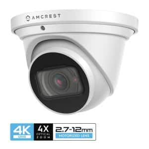 4K 8MP Wired Outdoor POE Optical Zoom IP Turret Security Camera 2.7 mm -12 mm Motorized Lens, IP67 IK10 Vandal Resistant