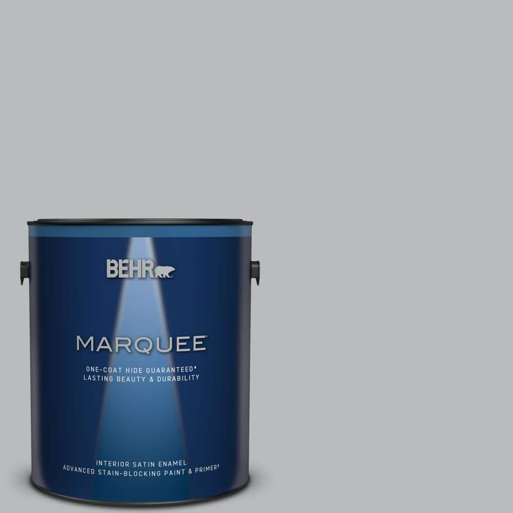 BEHR MARQUEE 1 gal. #PPU18-05 French Silver One-Coat Hide Satin Enamel Interior Paint & Primer