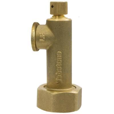3/4 in. X 1/4 in. Bronze Lead-Free Hose X NPT Drain Union & Pressure Gauge with 1/8 in. Capped Bleeder (Add A Gauge)