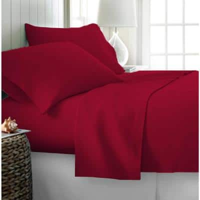 3-Piece Solid Red Microfiber Ultra Soft King Size Duvet Covers
