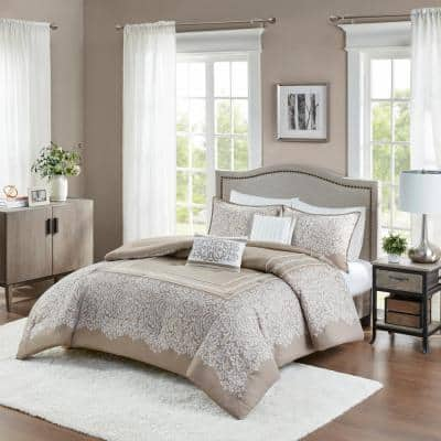 Adelle 5-Piece Taupe Damask Cotton Full/Queen Jacquard Comforter Set