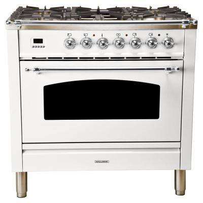 36 in. 3.55 cu. ft. Single Oven Italian Gas Range with True Convection, 5 Burners, Griddle, LP Gas, Chrome Trim in White