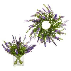 16 in. W Lavender Wreath and 12 in. H Lavender Arrangement (Set of 2)