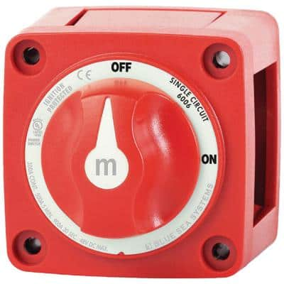 m-Series Mini On-Off Battery Switch with Knob, Red