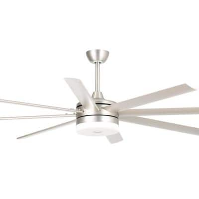 70 in. Integrated LED Satin Nickel Ceiling Fan with Light and Remote Control