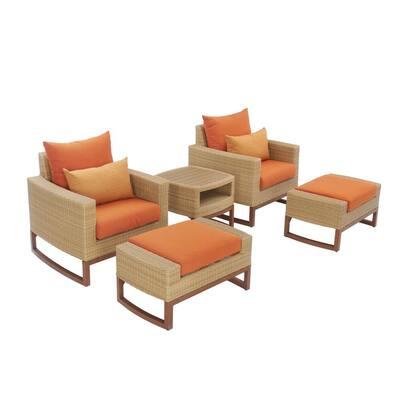 Mili 5-Piece Wicker Patio Deep Seating Conversation Set with Sunbrella Tikka Orange Cushions