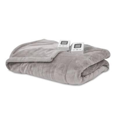 Soft Grey Polyester Fleece King Warming Blanket