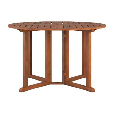 Miramar Brown Round Wood Outdoor Dining Table