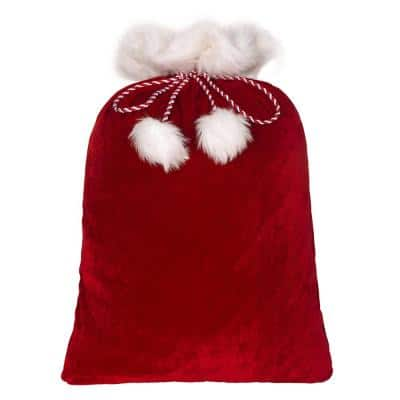 28 in. Red and White Classic Christmas Santa Bag