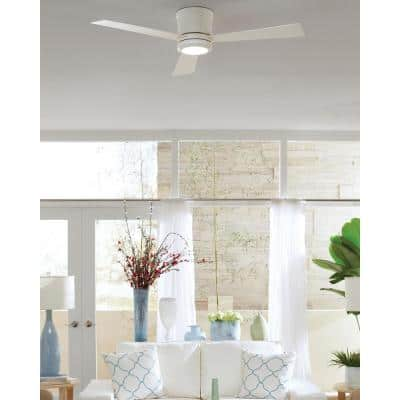 Clarity 52 in. LED Indoor Matte White Flush Mount Ceiling Fan with White Blades and Remote Control with Wall Face Plate