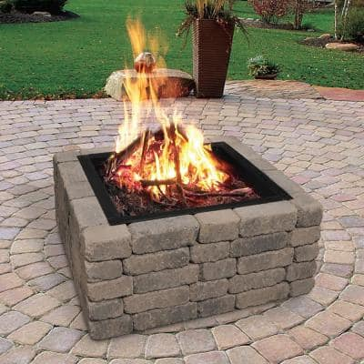 Heavy-Duty 36 in. x 10 in. Square Steel Wood Fire Pit Ring with 2.7 mm Steel
