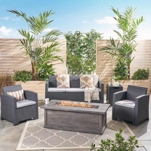 Noble House St John S 5 Piece Faux Wicker Patio Fire Pit Conversation Set With Light Grey Cushions 54102 The Home Depot