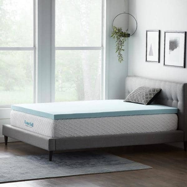 Lucid Comfort Collection 3 Inch Gel And Aloe Infused Memory Foam Topper Queen Hdlu30qq30gt The Home Depot