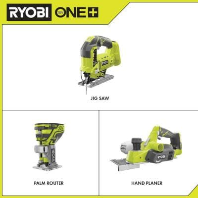 18-Volt ONE+ Cordless Jig Saw, Trim Router, and Planer (Tools Only)