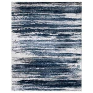 Jasmin Collection Stripes Design Ivory and Teal 7 ft. 8 in. x 9 ft. 8 in. Area Rug