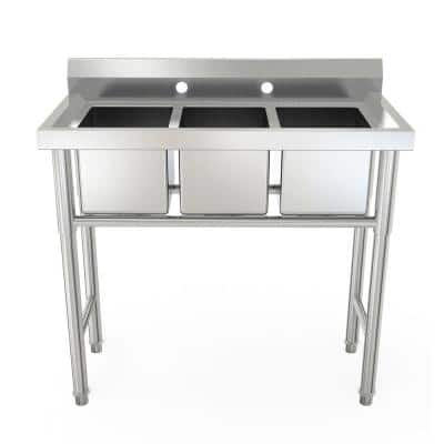 37.7 in. W and 9.44 in. Silver Built-In 3-Bowl Drop-In Workstation Stainless Steel Sink