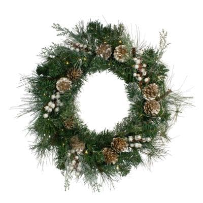 22 in. Unlit LED Champagne Gold Pine Cone and Berry Mixed Pine Wreath