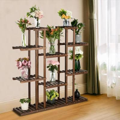 49.21 in. Tall Indoor/Outdoor Pine Wood Plant Stand (6-Story)