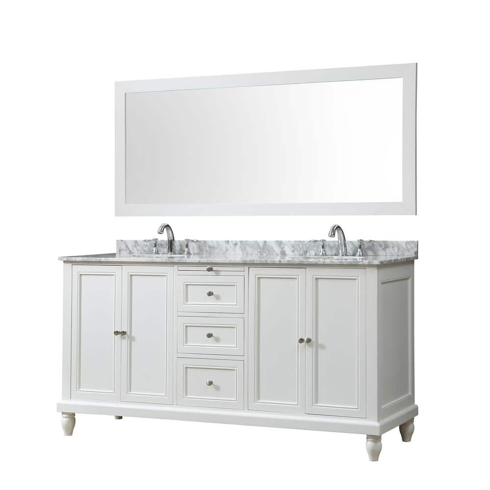 Direct Vanity Sink Classic 70 In Bath Vanity In White With Carrara Marble Vanity Top With White Basins And 1 Large Mirror 6070d9 Wwc M The Home Depot