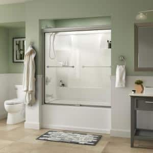 Everly 60 in. x 58-1/8 in. Traditional Semi-Frameless Sliding Bathtub Door in Nickel and 1/4 in. (6mm) Clear Glass