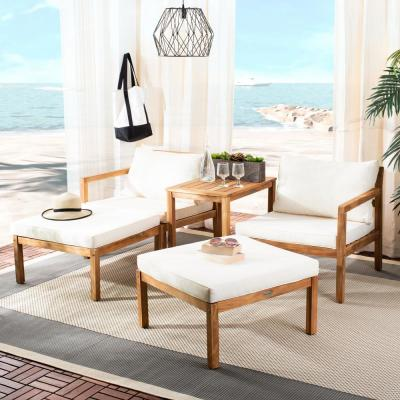 Pratia Natural Brown 5-Piece Wood Outdoor Day Bed with Beige Cushions