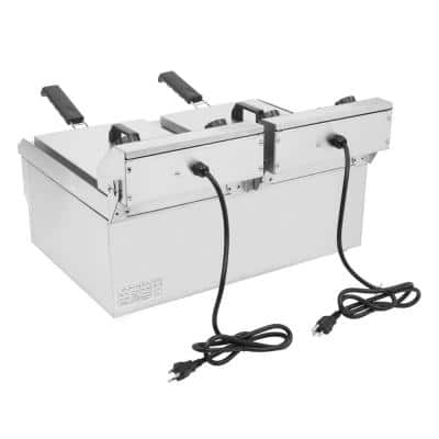 24.9 qt. Stainless Steel Dual Tank Electric Deep Fryer with Faucet